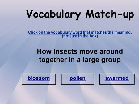 Vocabulary Match-up Click on the vocabulary word that matches the meaning. (not just in the box) How insects move around together in a large group blossom.