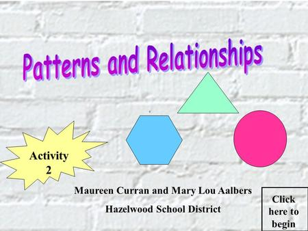 Maureen Curran and Mary Lou Aalbers Hazelwood School District Click here to begin Activity 2.