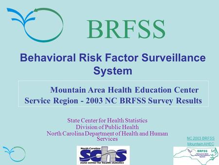 NC 2003 BRFSS Mountain AHEC BRFSS Behavioral Risk Factor Surveillance System Mountain Area Health Education Center Service Region - 2003 NC BRFSS Survey.