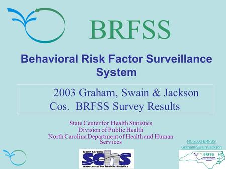 NC 2003 BRFSS Graham/Swain/Jackson BRFSS Behavioral Risk Factor Surveillance System 2003 Graham, Swain & Jackson Cos. BRFSS Survey Results State Center.