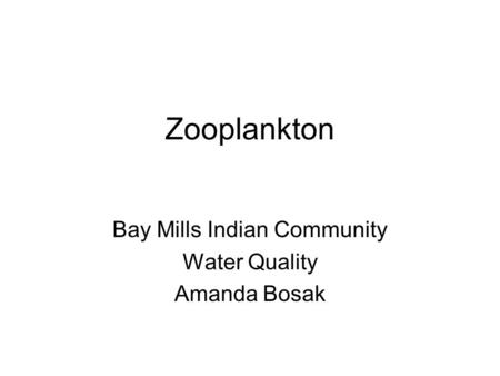 Bay Mills Indian Community Water Quality Amanda Bosak