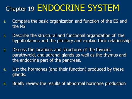 Chapter 19 ENDOCRINE SYSTEM 1. Compare the basic organization and function of the ES and the NS 2. Describe the structural and functional organization.