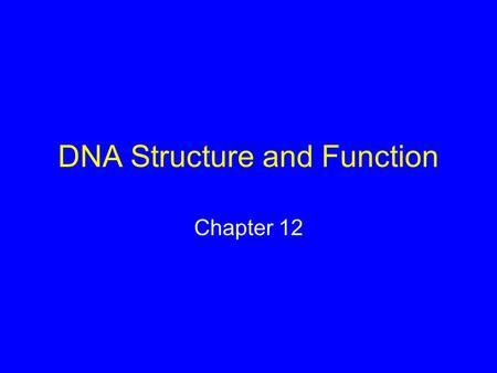 DNA Structure and Function Chapter 12. Structure of the Hereditary Material Experiments in the 1950s showed that DNA is the hereditary material Scientists.