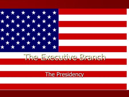 The Executive Branch The Presidency. 44 th President Barack Obama is our 44 th President and serves in many roles. Barack Obama is our 44 th President.