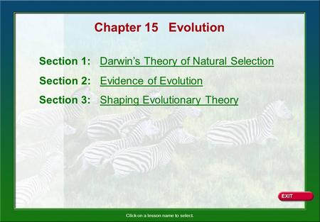Click on a lesson name to select. Chapter 15 Evolution Section 1: Darwins Theory of Natural Selection Section 2: Evidence of Evolution Section 3: Shaping.