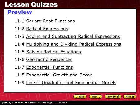 Lesson Quizzes Preview 11-1 Square-Root Functions
