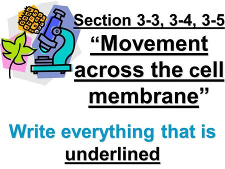 Section 3-3, 3-4, 3-5 Movement across the c ell membrane Write everything that is underlined.