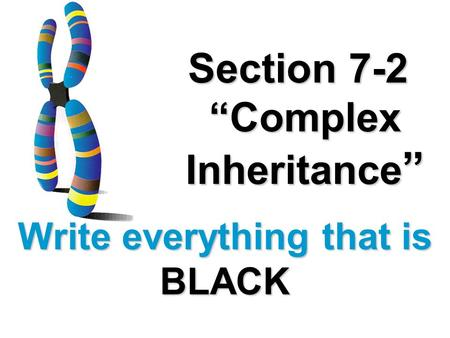 Section 7-2 Complex Inheritance Section 7-2 Complex Inheritance Write everything that is BLACK.