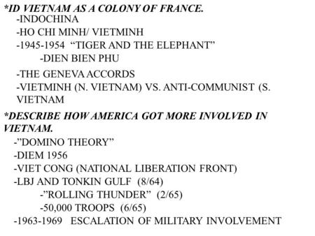 *ID VIETNAM AS A COLONY OF FRANCE. -INDOCHINA -HO CHI MINH/ VIETMINH -1945-1954 TIGER AND THE ELEPHANT -DIEN BIEN PHU -THE GENEVA ACCORDS -VIETMINH (N.