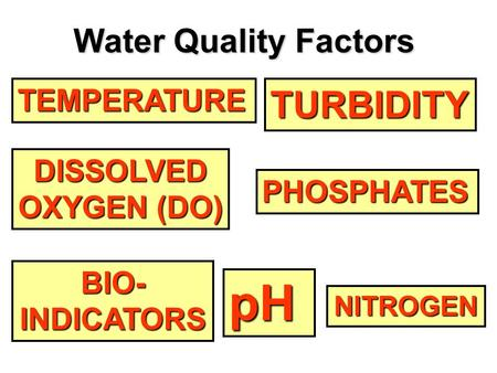 TEMPERATURE DISSOLVED OXYGEN (DO) OXYGEN (DO) pH NITROGEN PHOSPHATES TURBIDITY BIO- INDICATORS Water Quality Factors.