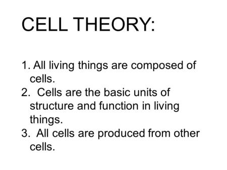 CELL THEORY: 1. All living things are composed of cells. 2. Cells are the basic units of structure and function in living things. 3. All cells are produced.