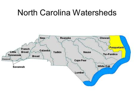 North Carolina Watersheds. What watershed do you live in? FRENCH BROAD.
