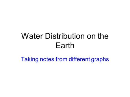 Water Distribution on the Earth Taking notes from different graphs.