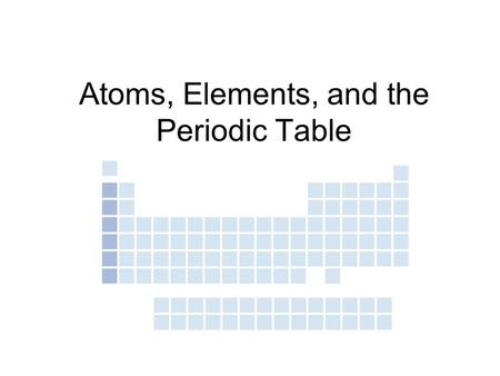Atoms, Elements, and the Periodic Table. PART 1: ATOMS 1.What are atoms made of? NUCLEUS – center of the atom PROTON (+) (in nucleus) NEUTRON (0) (in.