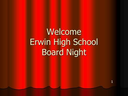 Welcome Erwin High School Board Night 1. Graduation Project Information All English IV Students All English IV Students Counts ¼ of their English IV Grade.