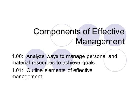 Components of Effective Management 1.00: Analyze ways to manage personal and material resources to achieve goals 1.01: Outline elements of effective management.