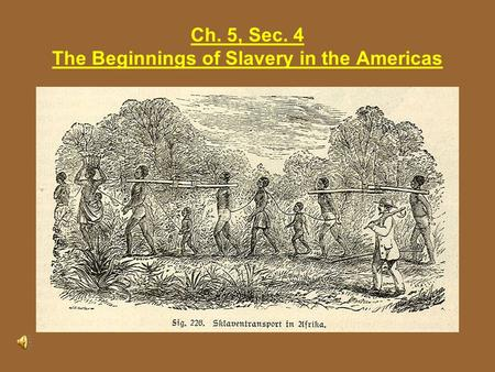 Ch. 5, Sec. 4 The Beginnings of Slavery in the Americas.