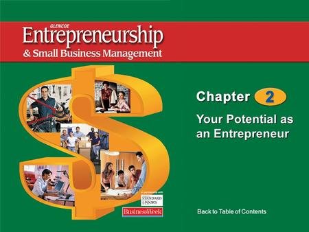 Your Potential as an Entrepreneur Back to Table of Contents.