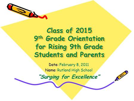 Class of 2015 9 th Grade Orientation for Rising 9th Grade Students and Parents Date: February 8, 2011 Name: Rutland High School Surging for Excellence.