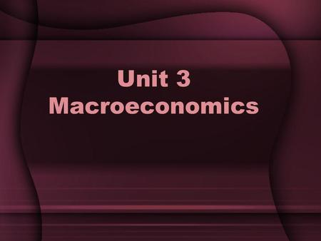 Unit 3 Macroeconomics. Unit Vocabulary Gross Domestic Product Business Cycle Consumer Price Index Unemployment Rate Monetary Policy Fiscal Policy Interest.