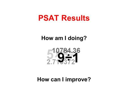 PSAT Results How am I doing? How can I improve?. Score Report Critical Reading Score Math Score Writing Skills Score Located at the top of your score.