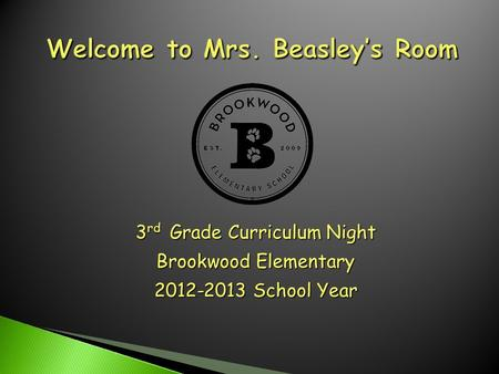 3 rd Grade Curriculum Night Brookwood Elementary 2012-2013 School Year.