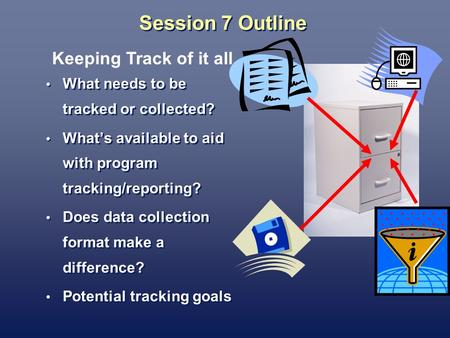 Session 7 Outline What needs to be tracked or collected? Whats available to aid with program tracking/reporting? Does data collection format make a difference?