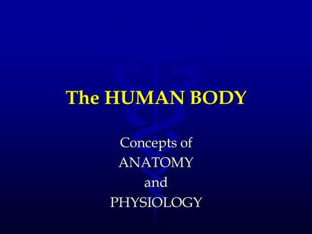 The HUMAN BODY Concepts of ANATOMYandPHYSIOLOGY. ANATOMY The scientific study of structures and the relationship of structures to each other.The scientific.