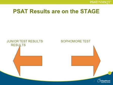 1 PSAT Results are on the STAGE JUNIOR TEST RESULTS SOPHOMORE TEST RESULTS 1.