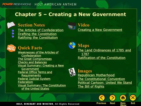 Chapter 5 – Creating a New Government Section Notes The Articles of Confederation Drafting the Constitution Ratifying the Constitution Video Images Republican.