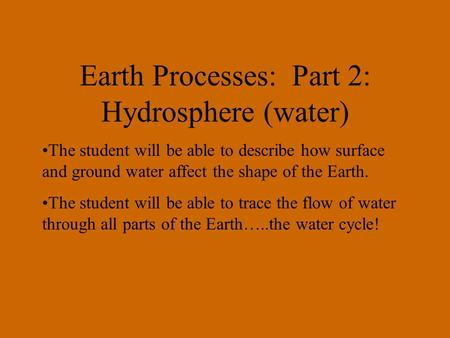 Earth Processes: Part 2: Hydrosphere (water) The student will be able to describe how surface and ground water affect the shape of the Earth. The student.