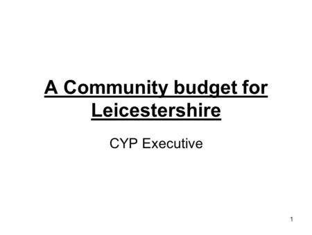 1 A Community budget for Leicestershire CYP Executive.