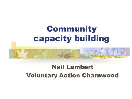 Community capacity building Neil Lambert Voluntary Action Charnwood.