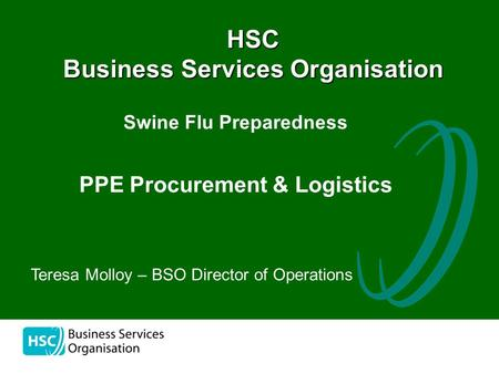 The HSC Business Services Organisation Swine Flu Preparedness PPE Procurement & Logistics Teresa Molloy – BSO Director of Operations.