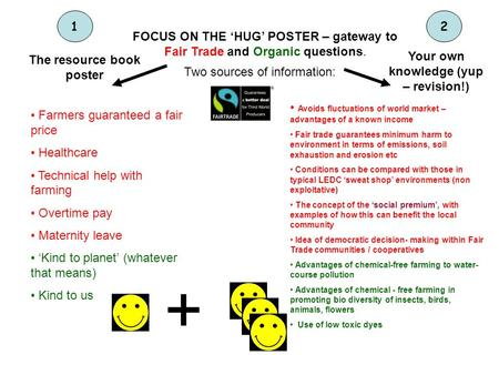 FOCUS ON THE HUG POSTER – gateway to Fair Trade and Organic questions. Two sources of information: The resource book poster 1 Your own knowledge (yup –
