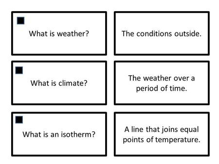 What is weather?The conditions outside. What is climate? The weather over a period of time. What is an isotherm? A line that joins equal points of temperature.