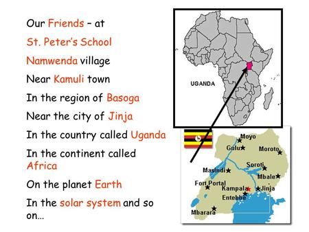 Our Friends – at St. Peters School Namwenda village Near Kamuli town In the region of Basoga Near the city of Jinja In the country called Uganda In the.