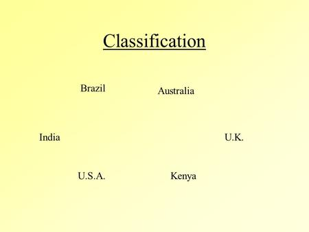 Classification U.K.India U.S.A.Kenya Australia Brazil.