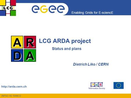 INFSO-RI-508833 Enabling Grids for E-sciencE  LCG ARDA project Status and plans Dietrich Liko / CERN.