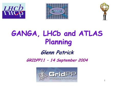 1 GANGA, LHCb and ATLAS Planning Glenn Patrick GRIDPP11 – 14 September 2004.