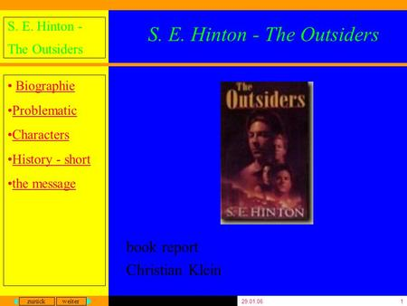 Zurück weiter S. E. Hinton - The Outsiders Biographie Problematic Characters History - short the message 29.01.061 S. E. Hinton - The Outsiders book report.