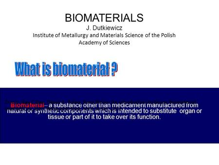 Biomaterial– a substance other than medicament manufactured from natural or synthetic components which is intended to substitute organ or tissue or part.