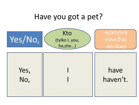 Have you got a pet? Yes/No, Kto (tylko I, you, he,she…) -is/am/are -have/has -do/does Yes, No, IIII have havent.