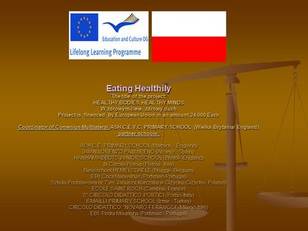 Eating Healthily The title of the project: HEALTHY BODIES, HEALTHY MINDS W zdrowym ciele, zdrowy duch Project is financed by European Union in an amount.