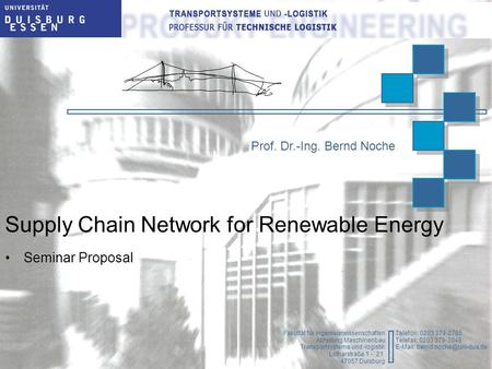 Supply Chain Network for Renewable Energy