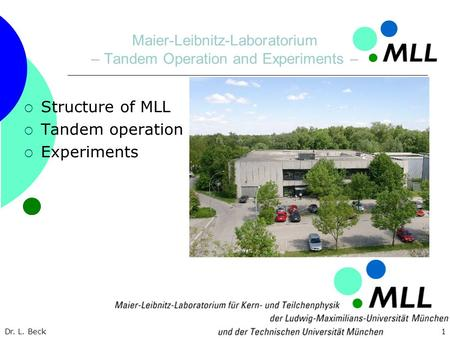 Dr. L. Beck1 Maier-Leibnitz-Laboratorium – Tandem Operation and Experiments – Structure of MLL Tandem operation Experiments.