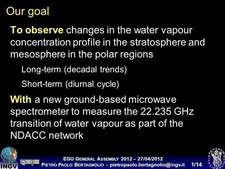 Introducing VESPA-22: a ground- based microwave spectrometer for measuring middle atmospheric water vapour at polar latitudes 27 April 2012 EGU General.