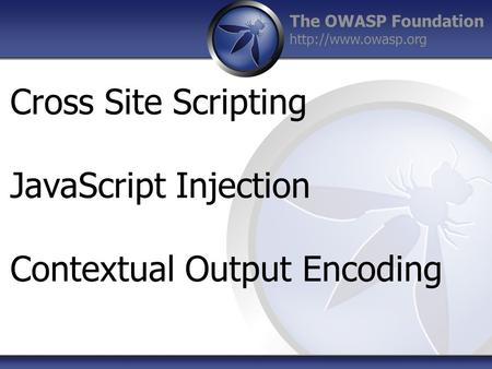 The OWASP Foundation  Cross Site Scripting JavaScript Injection Contextual Output Encoding.