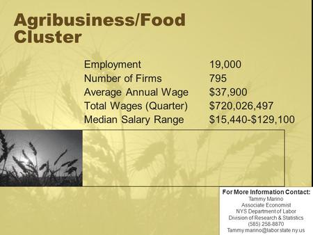 Agribusiness/Food Cluster Employment19,000 Number of Firms795 Average Annual Wage$37,900 Total Wages (Quarter)$720,026,497 Median Salary Range$15,440-$129,100.