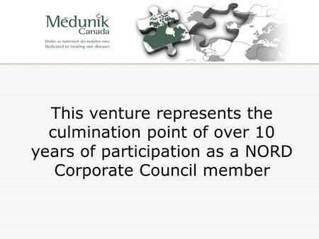 This venture represents the culmination point of over 10 years of participation as a NORD Corporate Council member.